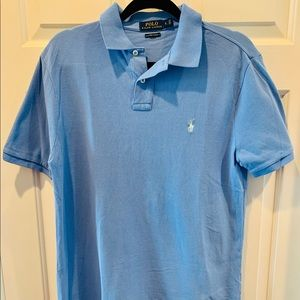 Ralph Lauren custom slim fit blue men's polo shirt